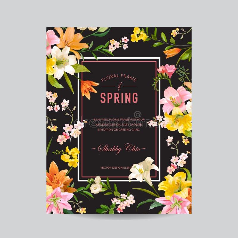 Uitstekend Bloemen Kleurrijk Kader - Waterverf Lily Flowers royalty-vrije illustratie