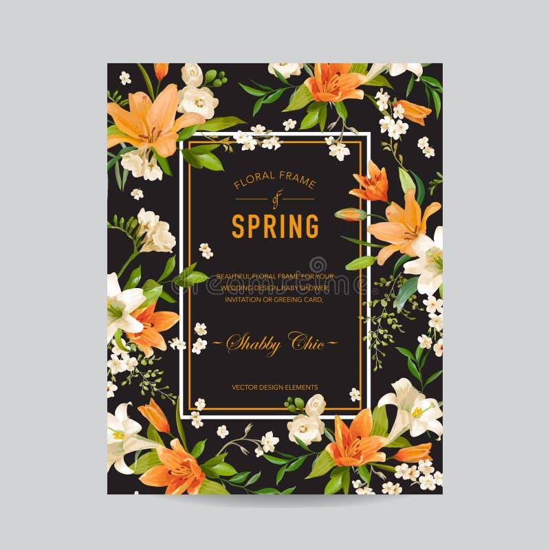 Uitstekend Bloemen Kleurrijk Kader - Waterverf Lily Flowers stock illustratie