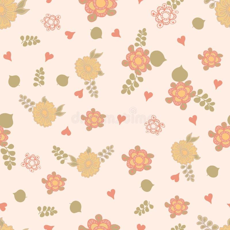 Uitstekend bloemen naadloos patroon stock illustratie