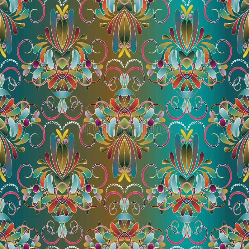 Uitstekend bloemen naadloos patroon Blauwe vectorachtergrond met Ha royalty-vrije illustratie