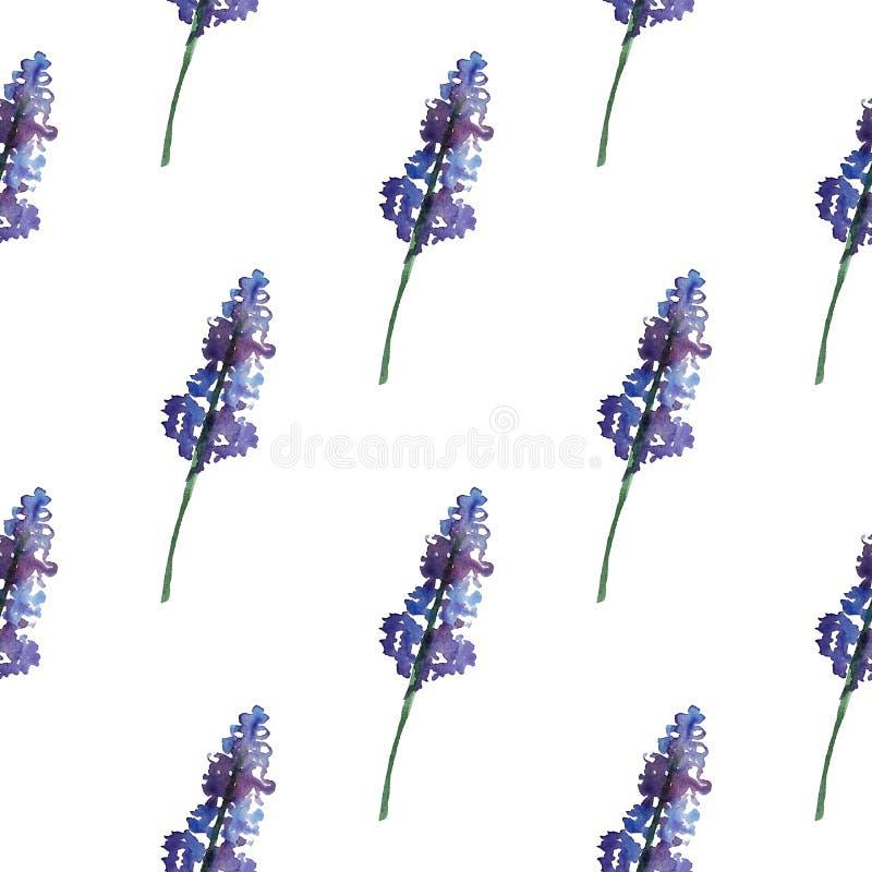 Uitstekend bloemen naadloos patroon met violet bloemen en blad Druk voor textiel eindeloos behang Hand-drawn waterverf stock illustratie