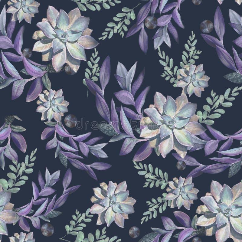 Uitstekend bloemen naadloos patroon met waterverf succulents royalty-vrije illustratie