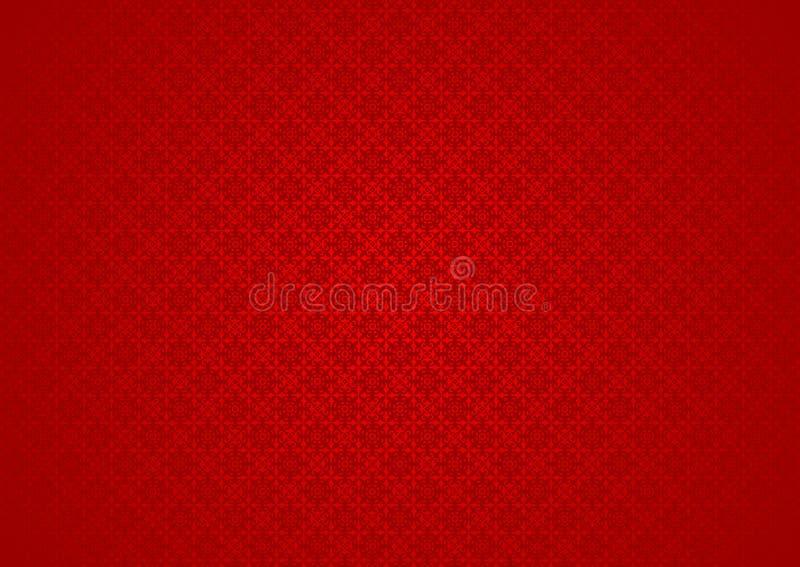 Uitstekend Bloemen Oosters Sier Chinees Arabisch Islamitisch van Imlek Ramadan Festival Red Pattern Texture Behang Als achtergron stock illustratie