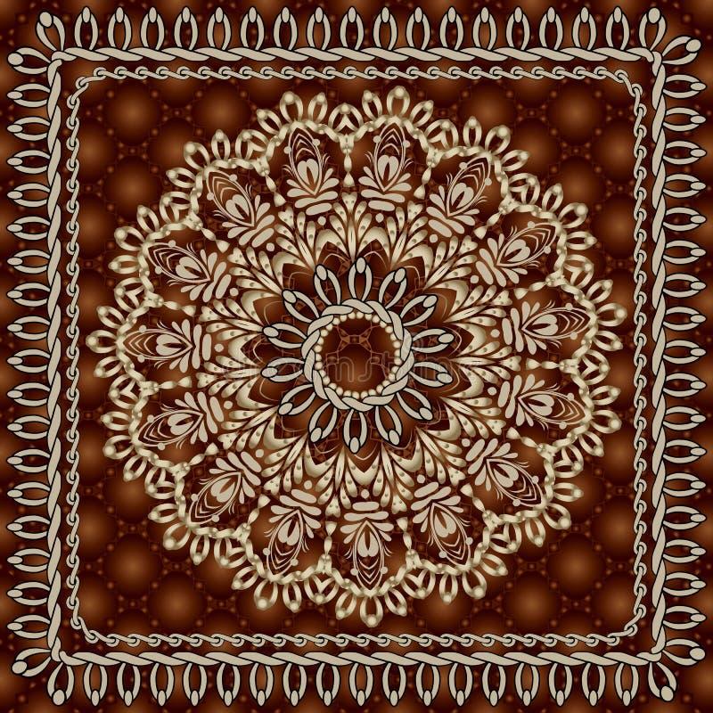 Uitstekend bloemen rond mandala naadloos patroon Oppervlakte geweven sier donkerrode achtergrond Gouden overladen bloem stitching vector illustratie