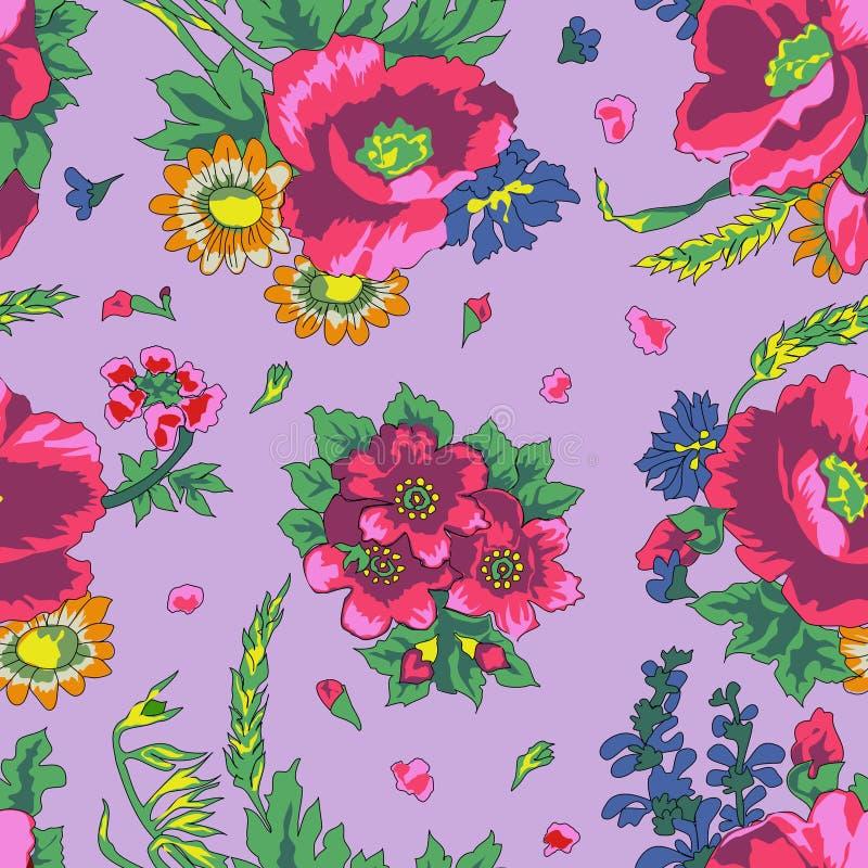Uitstekend bloemen Russisch naadloos patroon stock fotografie