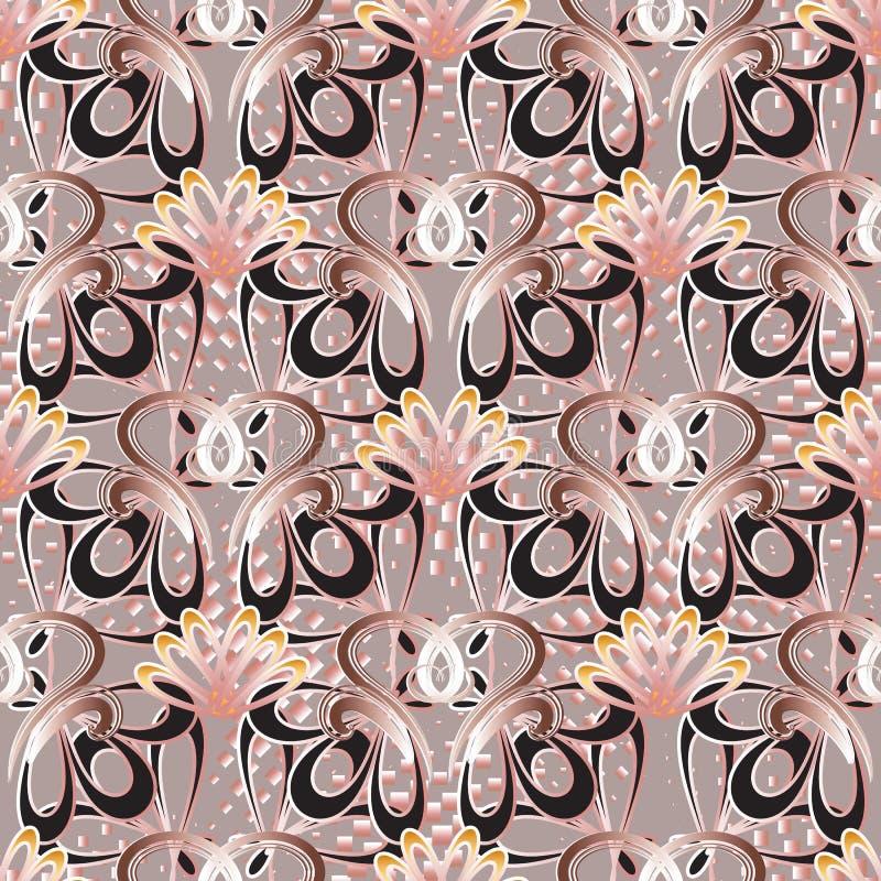 Uitstekend bloemen vector naadloos patroon Abstracte geometrische halft royalty-vrije illustratie