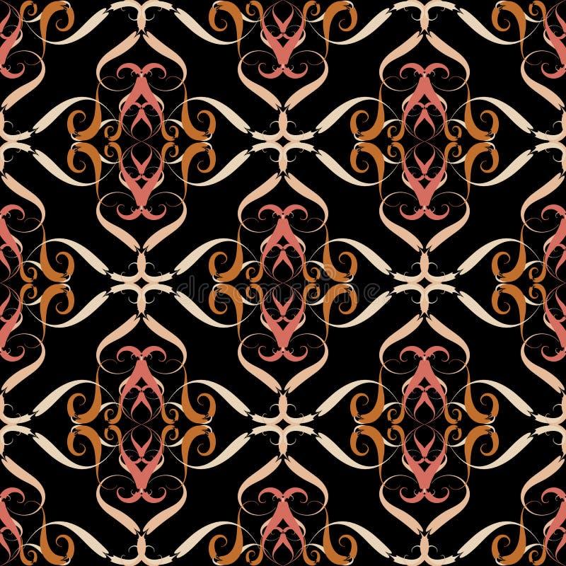 Uitstekend bloemen vector naadloos patroon De kunstornament van de damastlijn Elegantie bloemrijke decoratieve achtergrond Hand g royalty-vrije illustratie