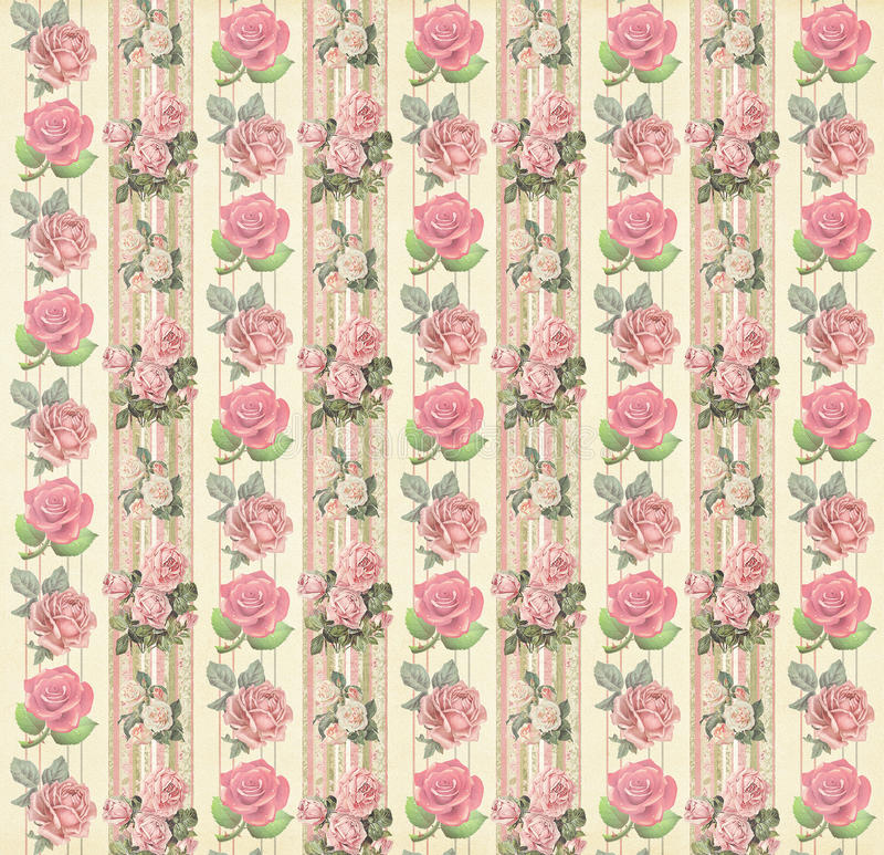 Uitstekend bloemenbehang stock afbeelding