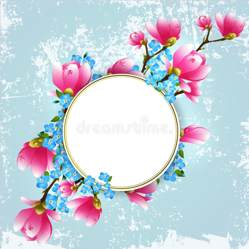 Uitstekend bloemenframe vector illustratie