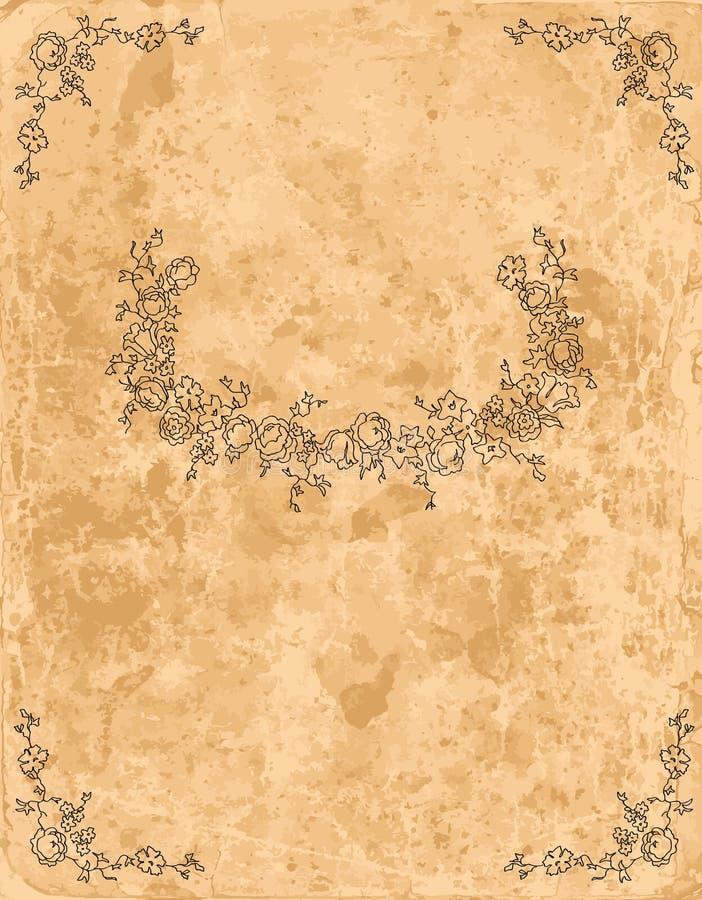 Uitstekend bloemenframe op oud document blad stock illustratie