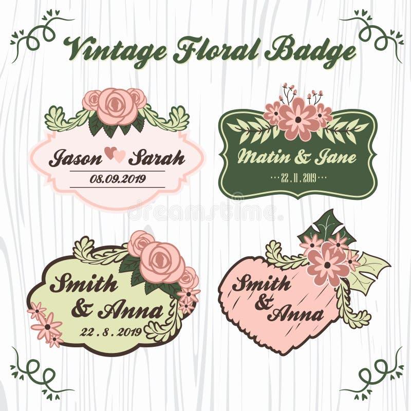 Uitstekend bloemenhuwelijkskenteken vector illustratie