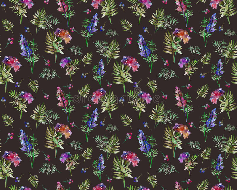 Uitstekend bloemenkruiden naadloos patroon met bosbloemen en blad Druk voor textiel eindeloos behang Hand-drawn royalty-vrije illustratie