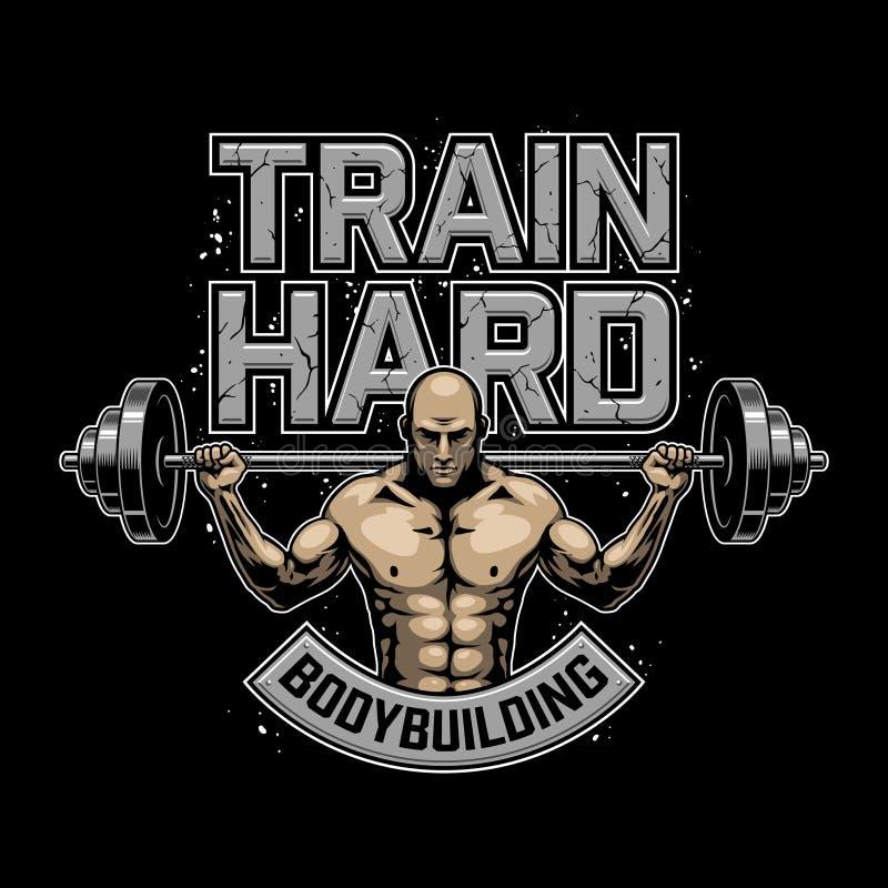 Uitstekend bodybuilding embleem vector illustratie