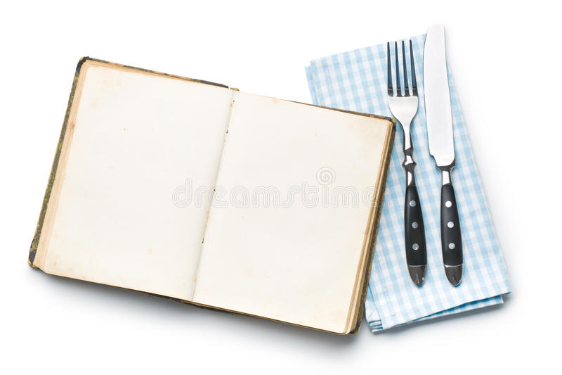 Uitstekend boek en bestek stock afbeelding