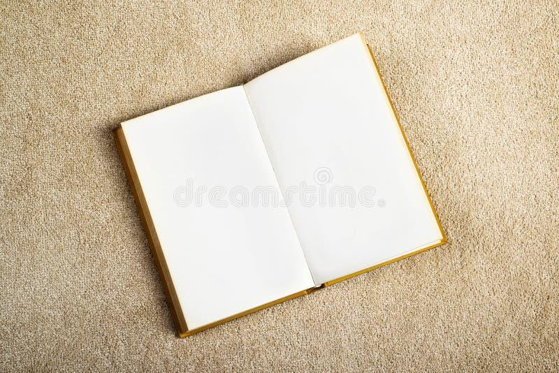 Uitstekend Boek met Blanco pagina's op de Tapijtvloer stock foto