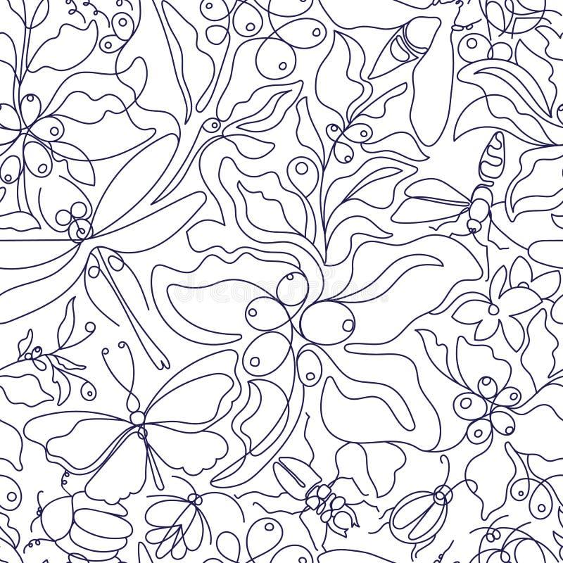 Uitstekend boho naadloos patroon De botanische aard van de kunstlijn royalty-vrije illustratie
