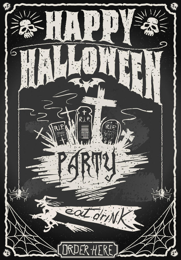 Uitstekend Bord voor Halloween-Partij royalty-vrije illustratie