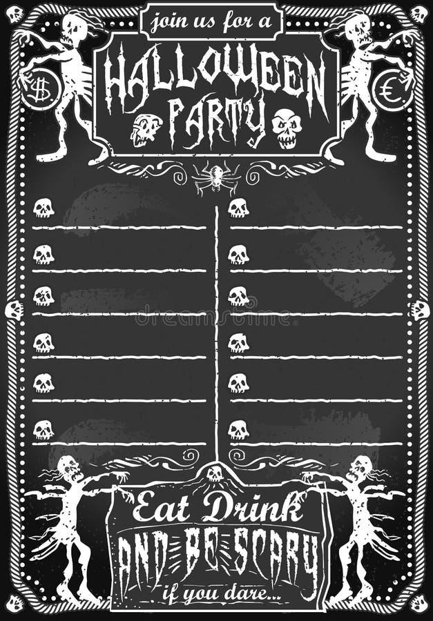 Uitstekend Bord voor Halloween-Partij vector illustratie