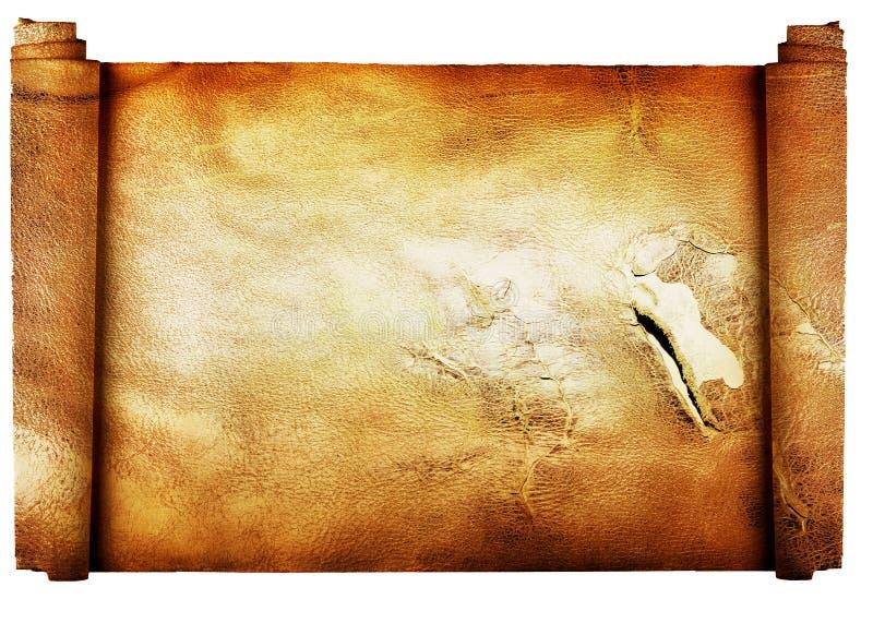 Uitstekend broodje van perkamentachtergrond die op w wordt geïsoleerd) royalty-vrije stock foto