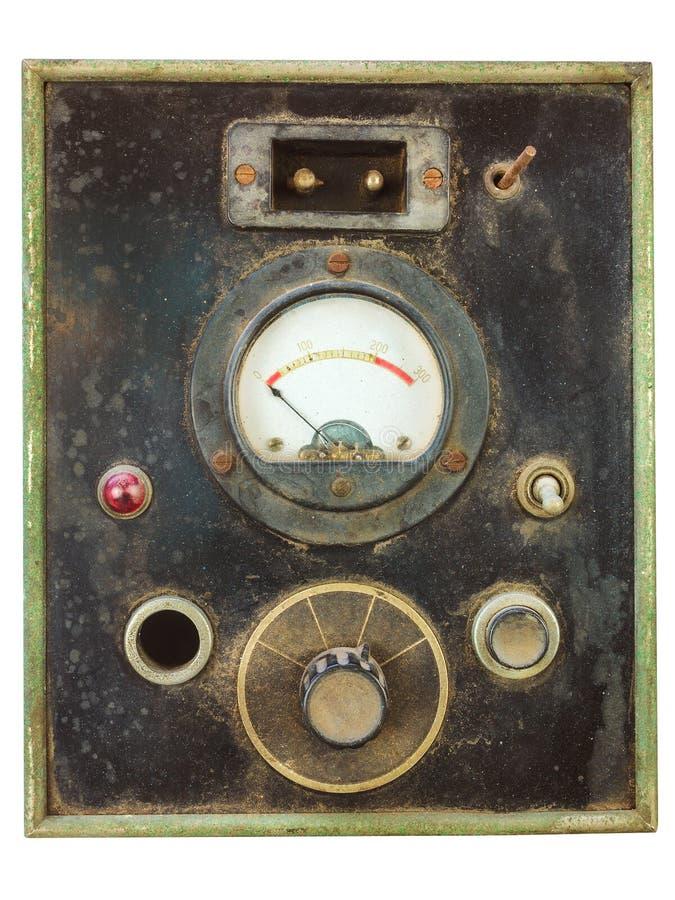 Uitstekend controlebord met voltmeter royalty-vrije stock afbeeldingen