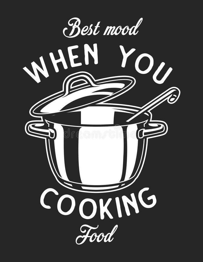 Uitstekend cookware zwart-wit embleem vector illustratie