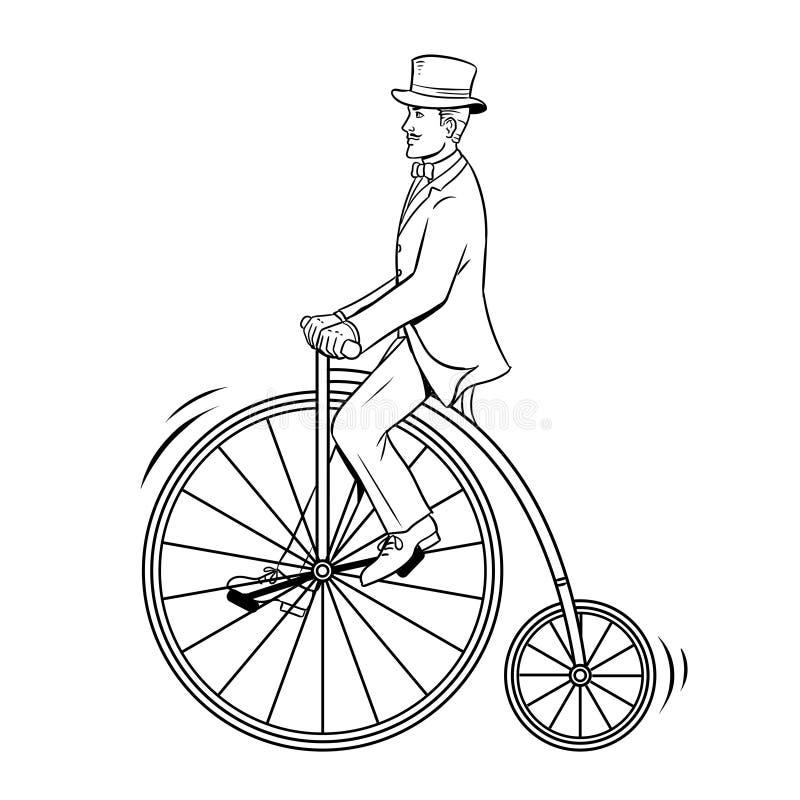 Uitstekend de fiets kleurend boek van de herenrit stock illustratie