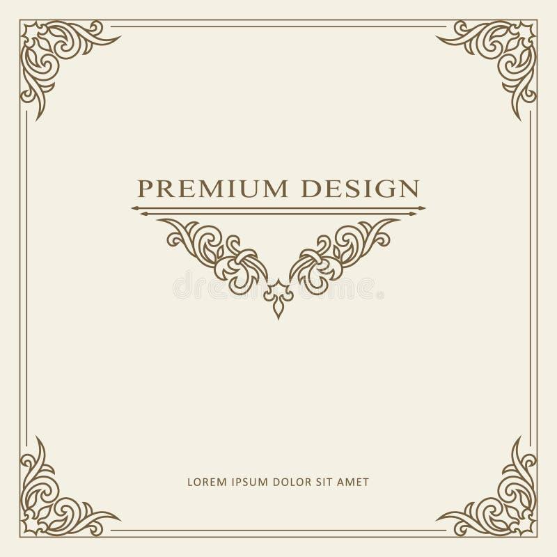 Uitstekend de kaart vectormalplaatje van de ornamentgroet Retro Luxeuitnodiging vector illustratie