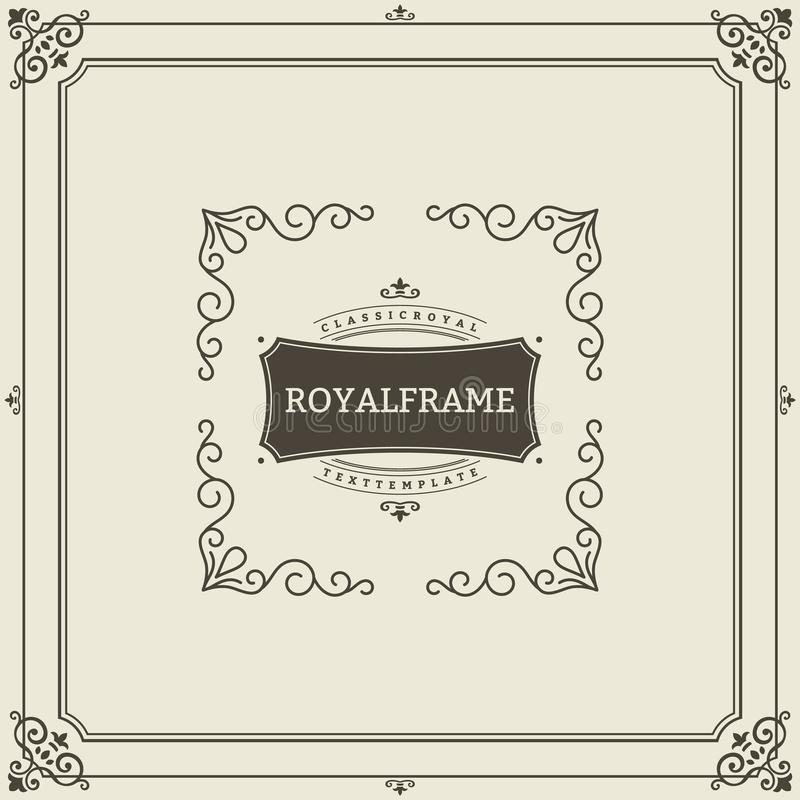 Uitstekend de kaart vectormalplaatje van de ornamentgroet Retro Luxeuitnodiging, Koninklijk Certificaat Bloeit kader wijnoogst stock illustratie