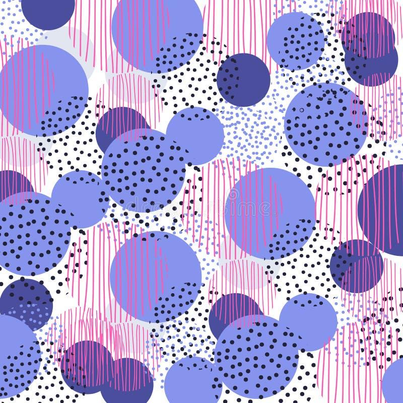Uitstekend de meetkunde naadloos patroon van de stijlcirkel het ontwerp van de illustratieoppervlakte voor druk en Web vector illustratie