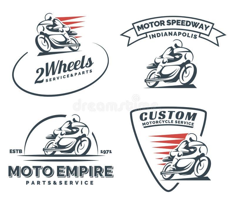 Uitstekend de motorfietsembleem, kentekens en emblemen van de koffieraceauto stock illustratie