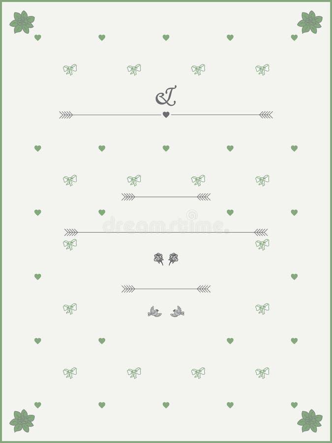 Uitstekend de Uitnodigingsmalplaatje van het stijlhuwelijk vector illustratie