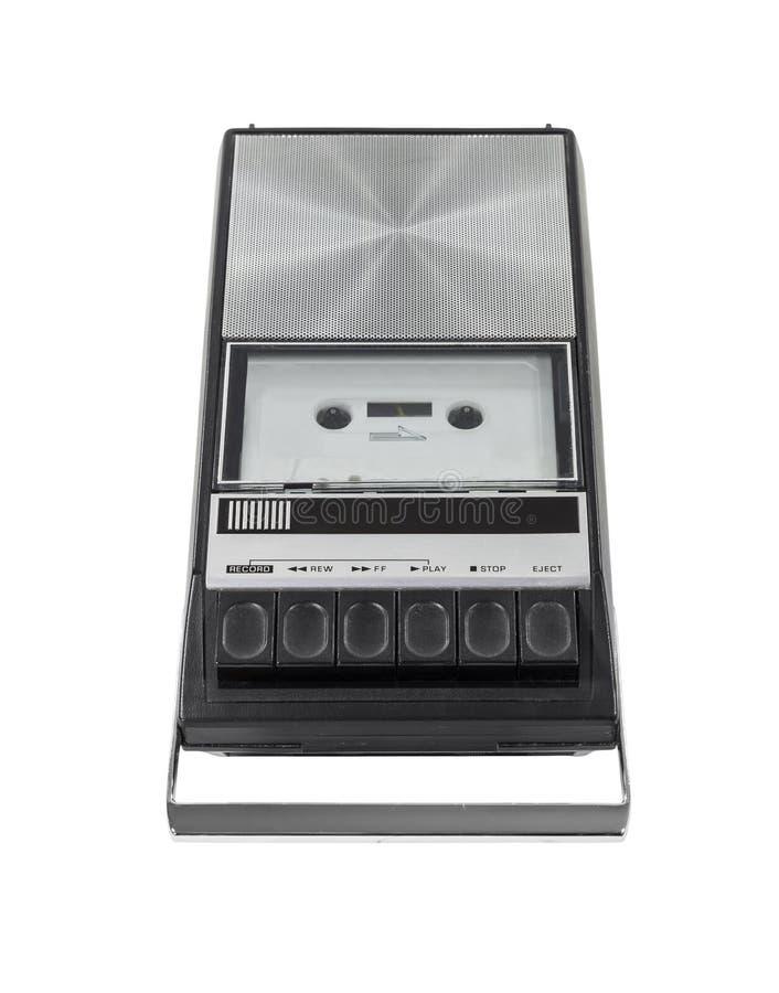 Het uitstekende die Registreertoestel van de Speler van de Band van de Cassette met het Knippen van Klopje wordt geïsoleerde stock foto