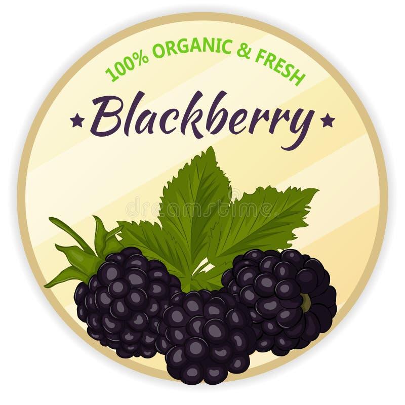 Uitstekend die etiket met braambes op witte achtergrond in beeldverhaalstijl wordt geïsoleerd Vector illustratie Fruit en groente stock illustratie
