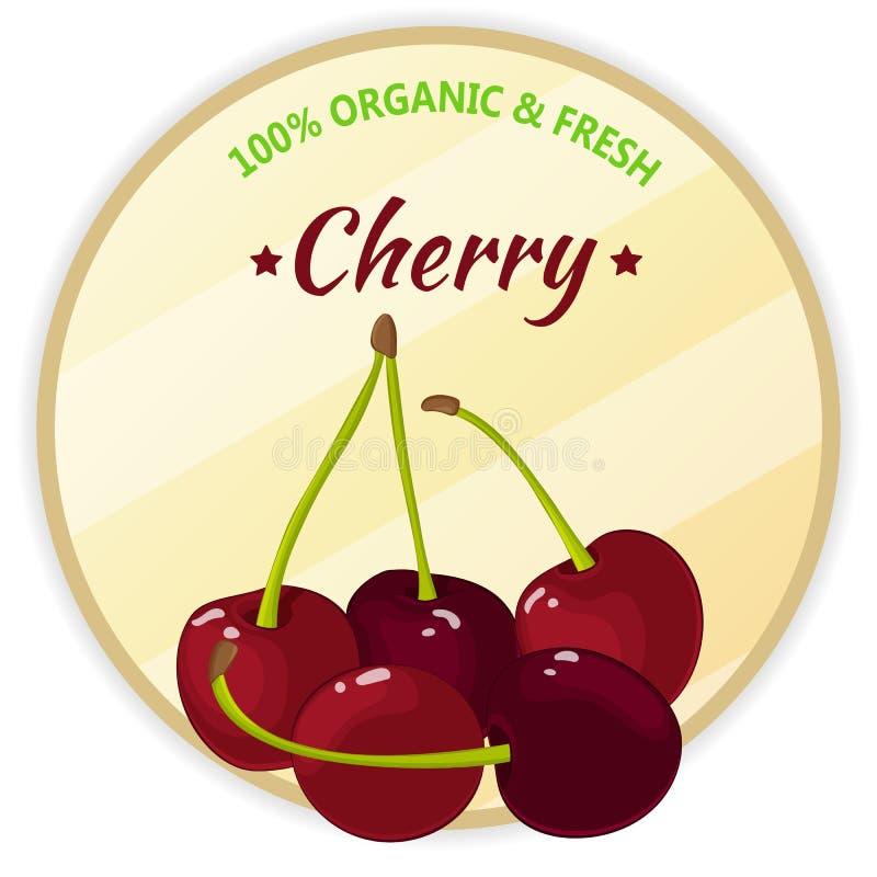 Uitstekend die etiket met kers op witte achtergrond in beeldverhaalstijl wordt geïsoleerd Vector illustratie Fruit en groenten vector illustratie