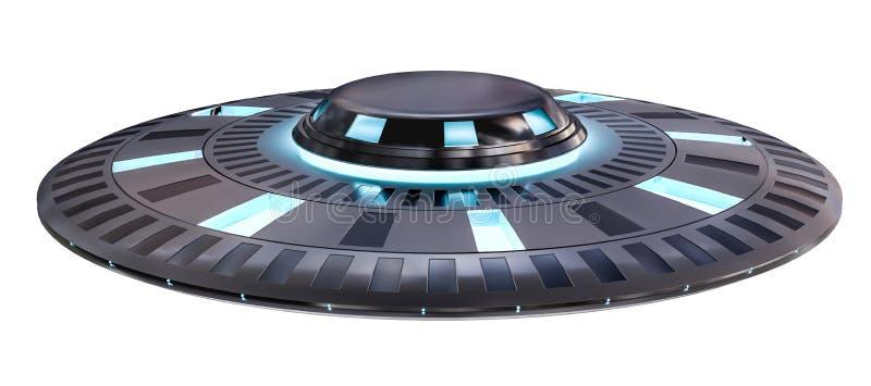 Uitstekend die UFO bij het witte 3D teruggeven wordt geïsoleerd als achtergrond royalty-vrije illustratie