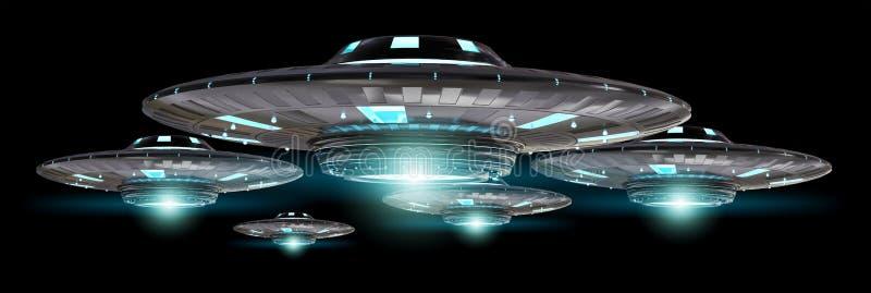 Uitstekend die UFO bij het zwarte 3D teruggeven wordt geïsoleerd als achtergrond royalty-vrije illustratie
