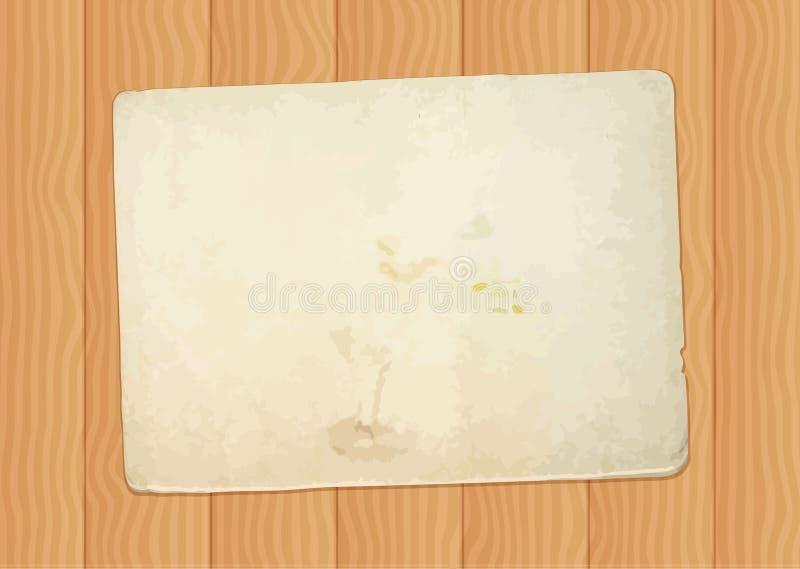 Uitstekend document blad bij houten achtergrond royalty-vrije illustratie