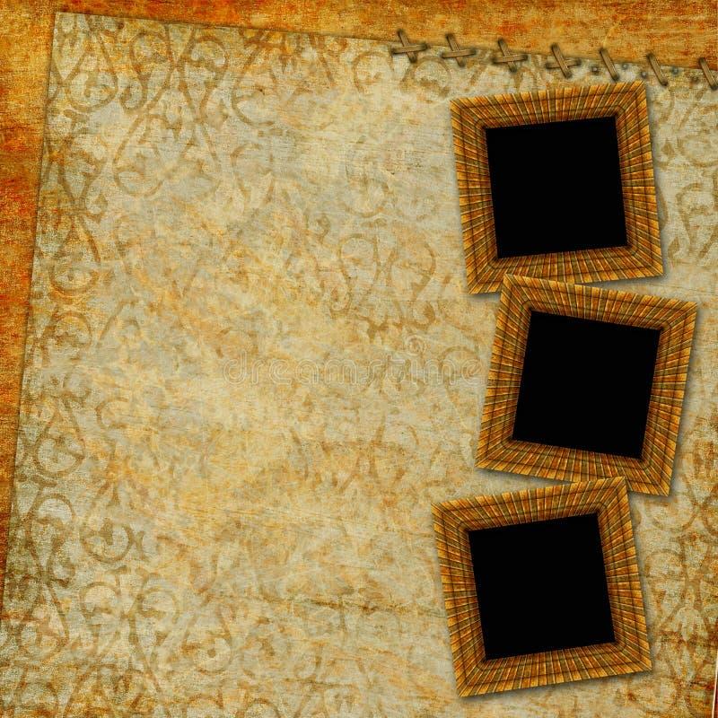 Uitstekend document met decoratieve frames stock illustratie