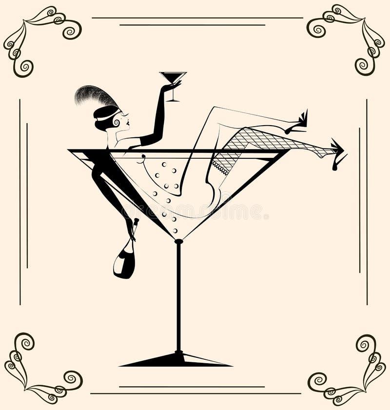 Uitstekend drinkend meisje in het glas stock illustratie
