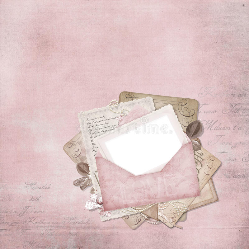 Uitstekend elegant frame met envelop vector illustratie