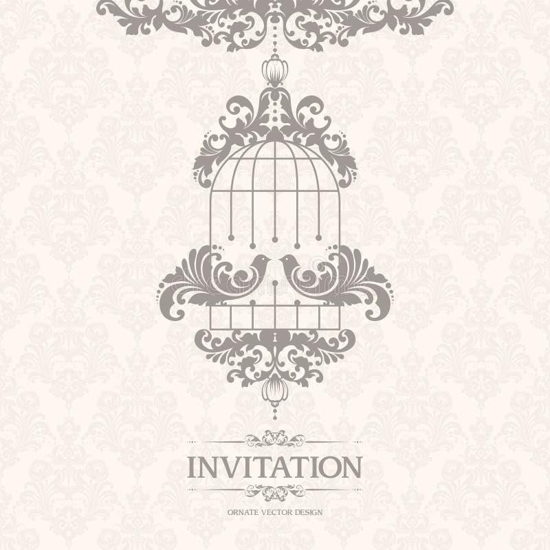 Uitstekend elegant malplaatje met naadloze patroon en paar decoratieve vogels Het sierontwerp van de kantpastelkleur voor huwelij vector illustratie
