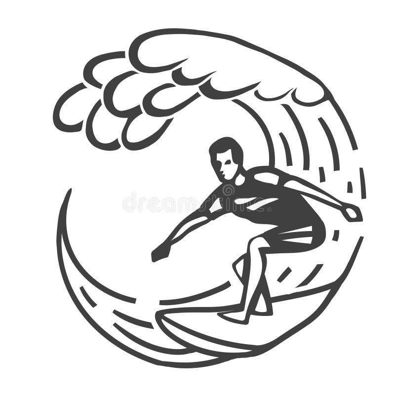 Uitstekend embleem Mensen die op golf surfen surfplank Branding logotype stock illustratie