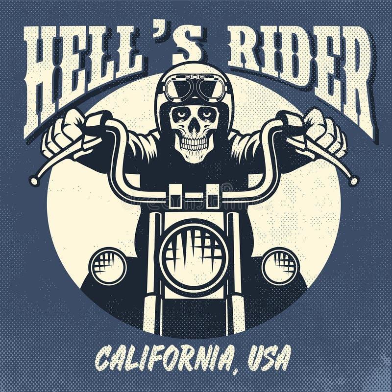 Uitstekend en roestig ontwerp van schedel die een motorfiets berijden royalty-vrije illustratie