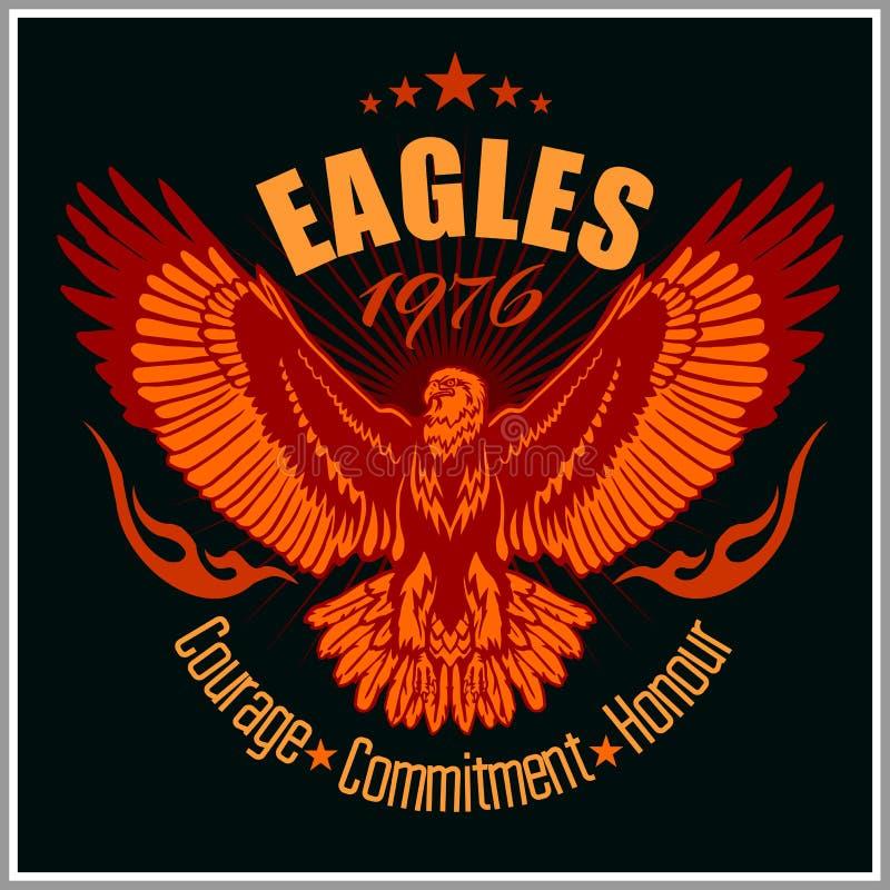 Uitstekend etiket Eagle - Retro embleem stock illustratie