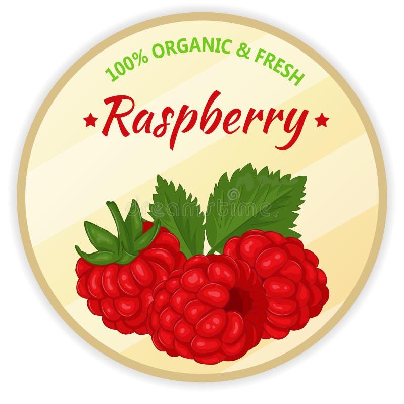 Uitstekend etiket met framboos die op witte achtergrond in beeldverhaalstijl wordt geïsoleerd Vector illustratie Fruit en groente royalty-vrije illustratie