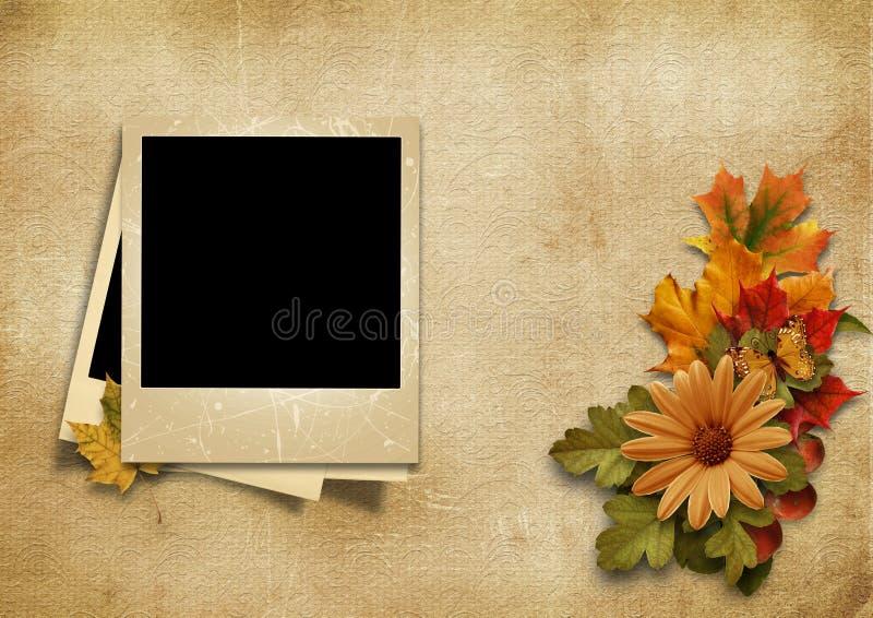 Uitstekend foto-kader met fijne de herfstdecoratie met plaats voor stock illustratie