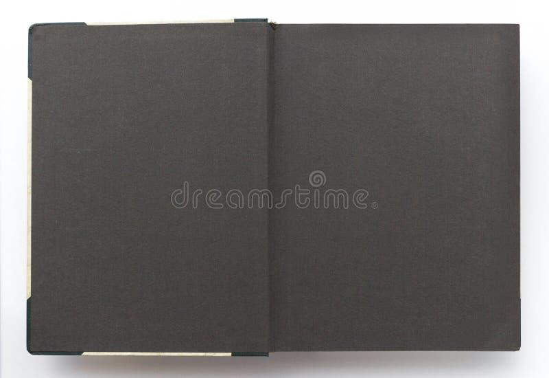 Uitstekend fotoalbum met blanco pagina's, zwart document stock foto