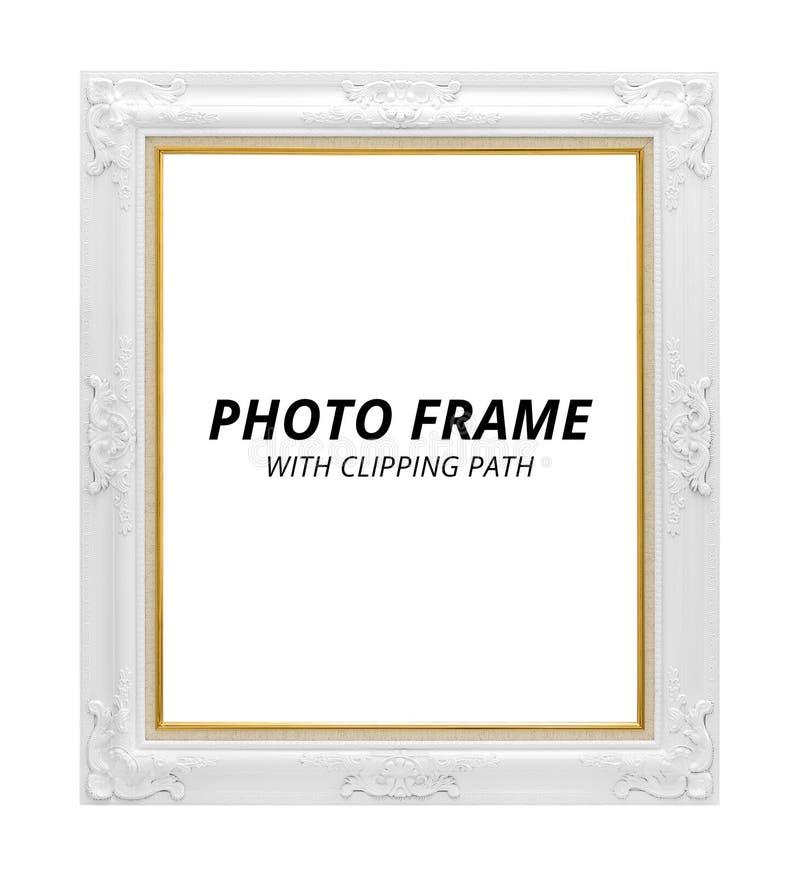 Uitstekend fotoframe dat op witte achtergrond wordt ge?soleerd Leeg kader in klassieke stijl Knippende weg stock fotografie