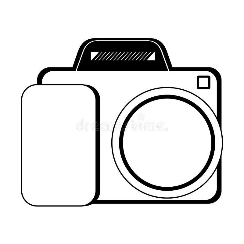 Uitstekend fotografisch camera ge?soleerd beeldverhaal in zwart-wit stock illustratie