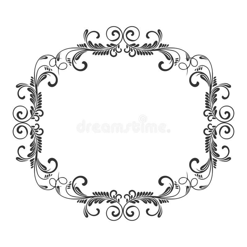 Uitstekend Frame Cirkel barok patroon Rond bloemenornament De kaart van de groet De uitnodiging van het huwelijk Retro stijl Vect vector illustratie